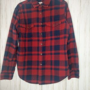Men's Navy and red flannel button up